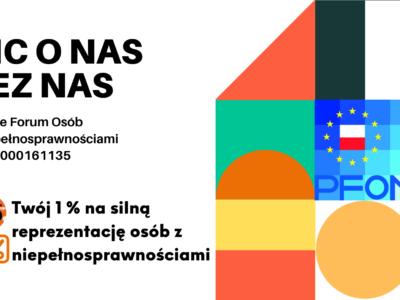 Grafika pokazująca dane do przekazania 1% na Polskie Forum Osób z Niepenosprawnościami